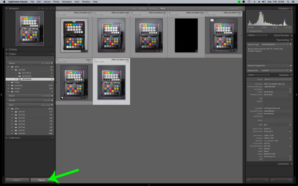 Adobe Lightroom CC i przycisk Export