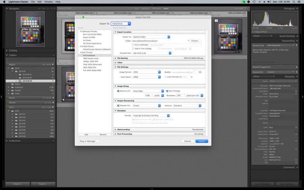 Adobe Lightroom CC i okno ustawień eksportu