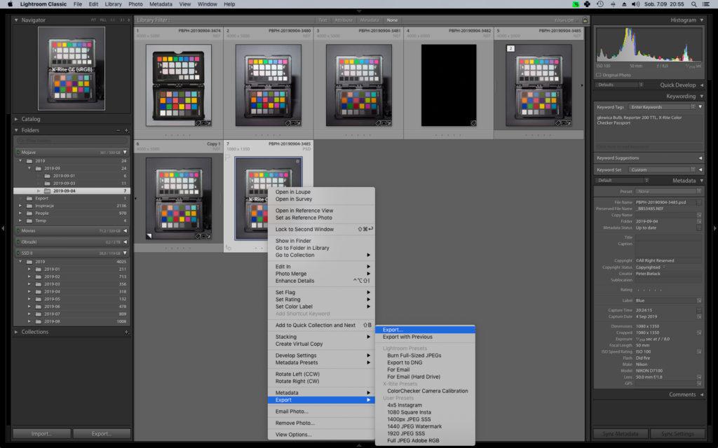 Adobe Lightroom CC i alternatywna metoda wywołania okna Export