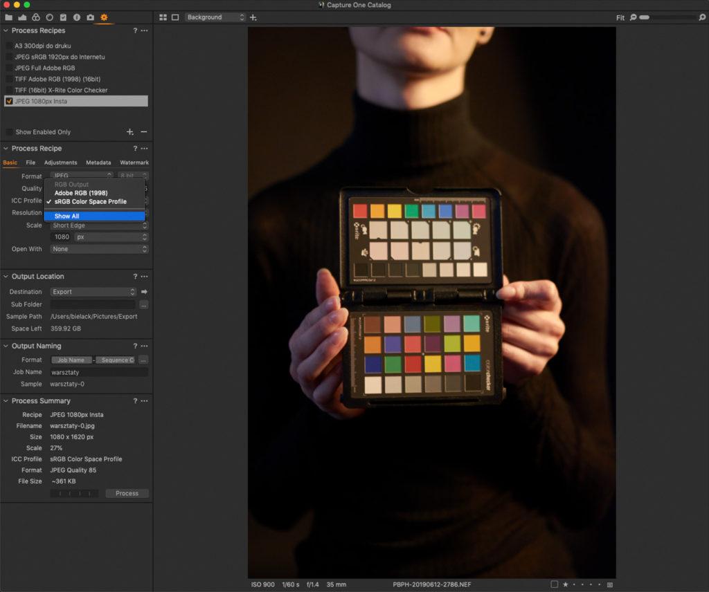 Capture One Pro: opcje wyboru podstawowych przestrzeni kolorystycznych