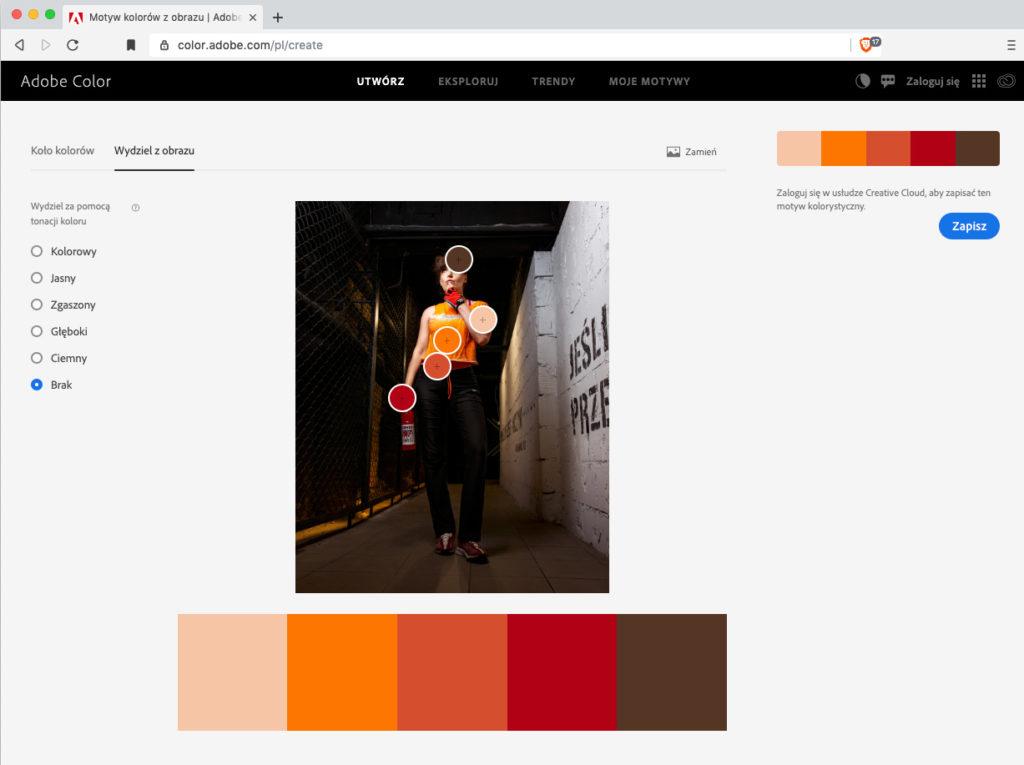 Narzędzie Adobe Color i harmonia na zdjęciu
